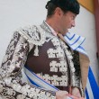 Bullfighter getting dressed for the paseillo or initial parade — Stock Photo