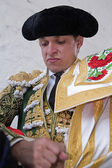 The spanish bullfighter El Juli getting dressed for the paseillo or initial parade — Stock Photo