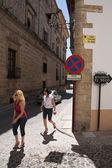 Tourists walk along the monumental area of Ubeda — Stock Photo
