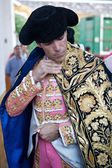 The spanish bullfigher Jose Tomas getting dressed for the paseillo or initial parade — Stock Photo
