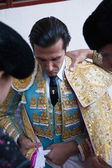 The spanish bullfighter David Mora getting dressed for the paseillo or initial parade — Stock Photo