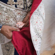 Stock Photo: Bullfighter getting dressed for paseillo or initial parade