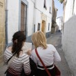 Two tourists look at a map of the city of Ubeda — Stock Photo