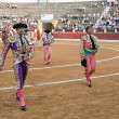 Bullfighters at the paseillo or initial parade — Stock Photo