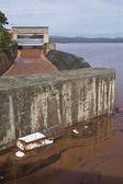Panoramic view of the dam of Guadalen at full capacity — Stock Photo