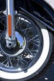 Motorbike's chromed engine, Bikes in a street — Stock Photo