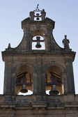 Bellfry view from below of Church of Santa Maria of the Reales Alcazares at nigth, Ubeda — Stock Photo