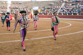 Bullfighters at the paseillo or initial parade — Stockfoto