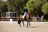 Rider competing in dressage competition classic — Foto Stock