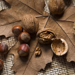 Walnuts and hazelnuts on a dry leaf — Lizenzfreies Foto