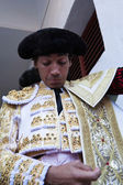 The spanish bullfighter Curro Diaz getting dressed for the paseillo or initial parade — Stock Photo