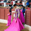 Stock Photo: Bullfighter concentrated with capote before starting bullfight