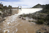 Panoramic view of the dam and the central hydroelectric reservoir of Encinarejo — Stock Photo