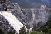 Panoramic view of the dam at the reservoir of Jandula, near Andujar — Stockfoto