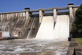 Expulsion of water after heavy rains in the embalse de Puente Nuevo — Stock Photo