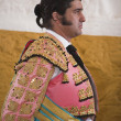 The spanish bullfighter Morante de la Puebla waiting for the exit in the alley from the bullring of Andujar — Stock Photo