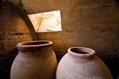 Jars of clay to preserve foods in the cellar — Stock Photo