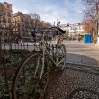 Solitary bicycle parked at bibarrambla square — Stock Photo