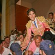Spanish Bullfighter Jose Tomas going out to shoulders for the big door after one having big bullfight — Stock Photo