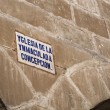 Detail architectural and sign of the street name written in old Castilian — Foto de Stock