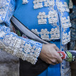 Spanish Bullfighter with blue dress and silver ornaments, the mantle is placed to start the paseillo before beginning the bullfighting in Ubeda — Foto de Stock