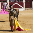 Spanish bullfighter Morante de la Puebla removing his montera to greet the public in Ubeda bullring — Stock Photo