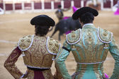 Spanish Bullfighters looking bullfighting — Stock Photo