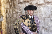 Spanish bullfighter Morante de la Puebla concentrated on the alley minutes before going out to initiate the paseillo in Ubeda bullring — Stock Photo