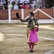 Spainish bullfighter Morante de la Puebla with montera in right hand and left hand rosemary thanking the public at the end of his show in the Bullring of Ubeda — Stock Photo