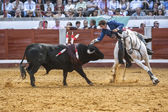 Spanish bullfighter on horseback Pablo Hermoso de Mendoza bullfighting on horseback — Stock Photo