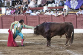 Spainish bullfighter Juan de Felix stopped in front of the bull or also called desplante, offering to the public their courage in the Bullring of Andujar — Stock Photo