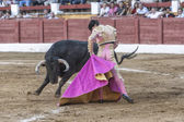 Spainish bullfighter Daniel Luque bullfighting with a crutch in a beautiful pass by low in the Bullring of Andujar — Stock Photo