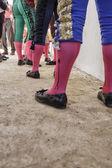 Bullfighters at the paseillo or initial parade Bullfight at Baeza bullring — Stock Photo