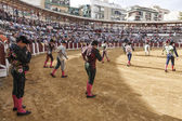 Spanish bullfighters at the paseillo or initial parade in Ubeda — Foto de Stock