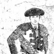 Drawing charcoal on white canvas of Spanish bullfighter concentrated on the alley minutes before going out to initiate the paseillo in Ubeda bullring — Stock Photo #39082371