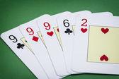 Cards poker deck English Poker hand call la Tercia — Stock Photo