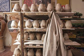 Transport car with salvers of ceramics ready to put them in the stove — Stock Photo