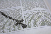 Rosary beads and a holy bible — Stock Photo