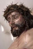 Figure of Jesus on the cross carved in wood by the sculptor Jos — Stock Photo