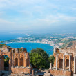 Ancient greek amphitheatre in Taormina city, Sicily island, Italy — Stock Photo