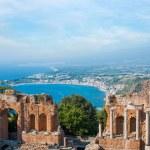 Ancient greek amphitheatre in Taormina city, Sicily island, Italy — Stock Photo #34132165