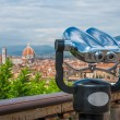 Cathedral of Santa Maria del Fiore (Duomo) and basilica of Santa Maria Novella in front of touristic binoculars, Florence city, Italy — Stock Photo