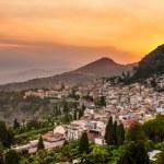 Taormina city during dramatic sunset — Stock Photo