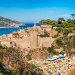 Panoramic view of the medieval castle in Tossa de Mar, Costa Brava, Spain — Stock Photo