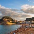 Panoramic view of the medieval castle in Tossa de Mar with dramatic sky, Costa Brava, Spain — Stock Photo #40975341