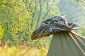 Hat on the camping tent — Stock Photo