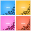 Corner of butterflies — Stock Vector
