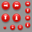 Stock Vector: Vector directional buttons red