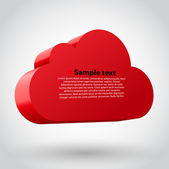 Cloud 3d glossy icon symbol. Vector illustration. Red variant — Stock Vector