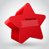 3d vector star with text. red variant — Stock Vector